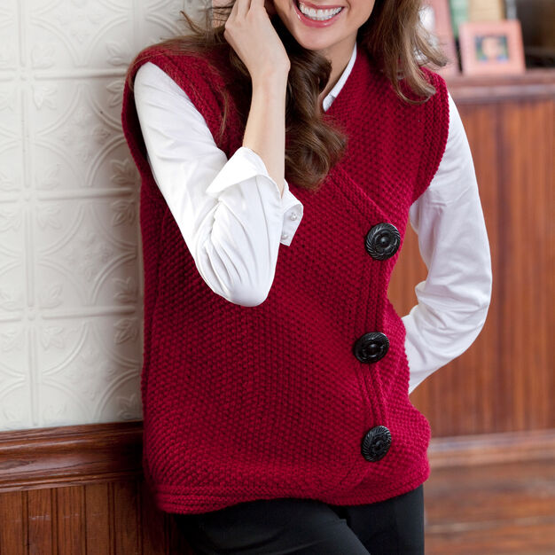 Red Heart Side Buttoned Vest, S in color