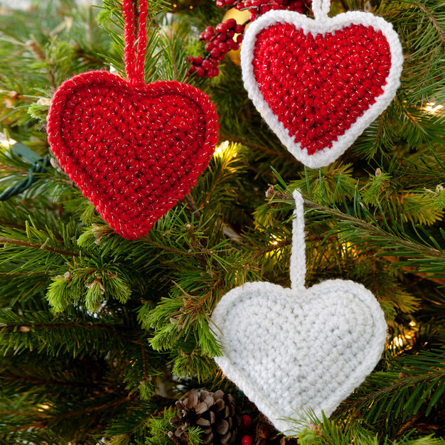 Red Heart Christmas Love Hearts Ornaments in color