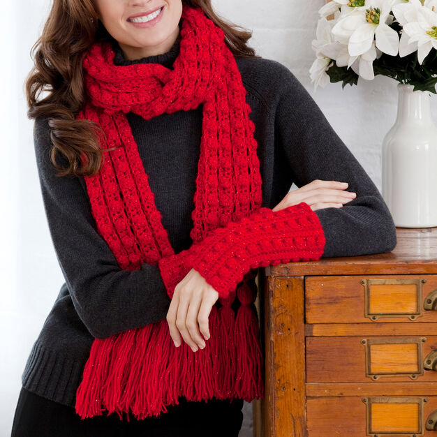 Red Heart Lacy Bobble Scarf and Wristlets in color