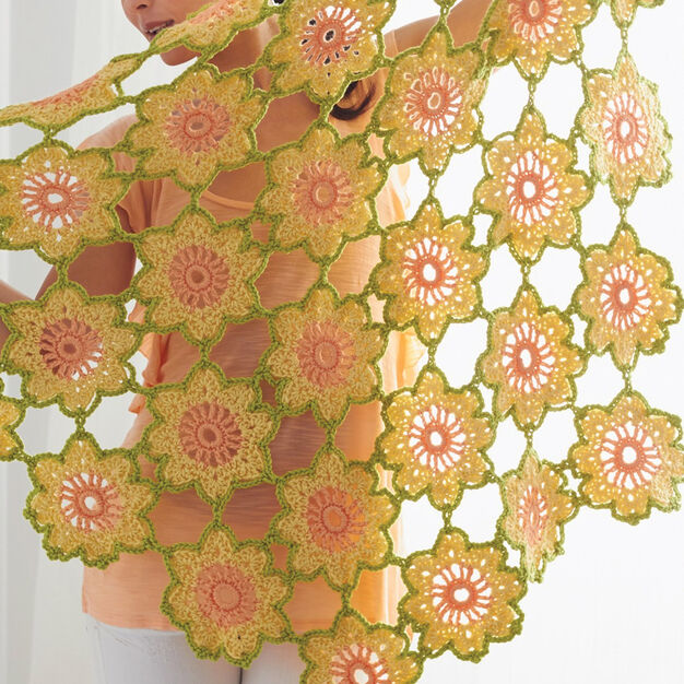 Caron Garden Flowers Shawl in color