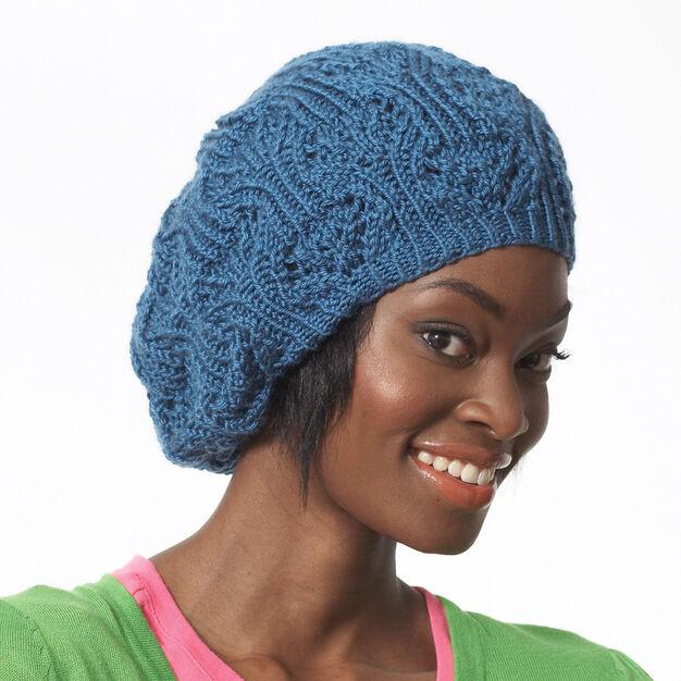 slouchy lace beret knitting pattern from Yarnspirations using Bernat Satin yarn