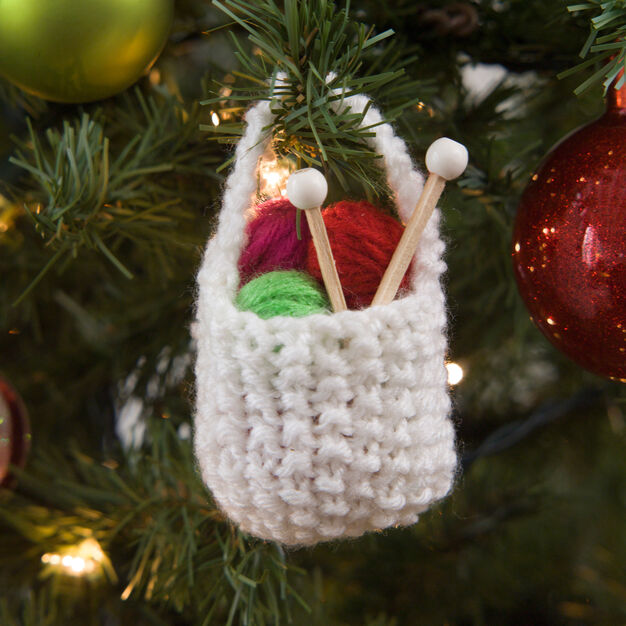 Red Heart Knit Basket of Yarn Ornament in color