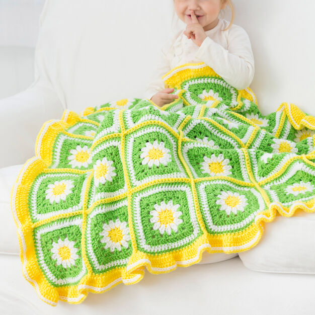 Red Heart Daisy Garden Blanket in color