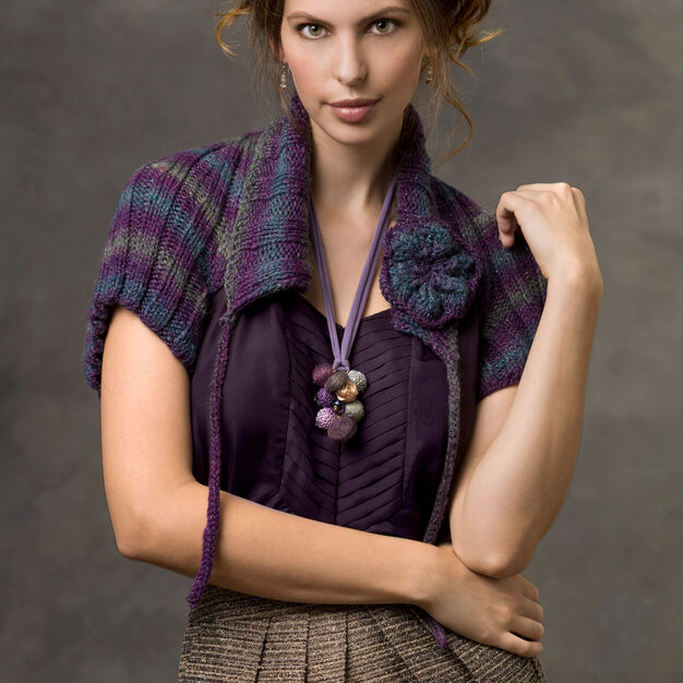 Red Heart Ribbed Shrug, S in color