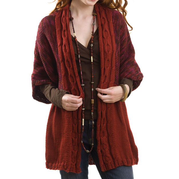 Caron Cable Front Cardigan, S in color