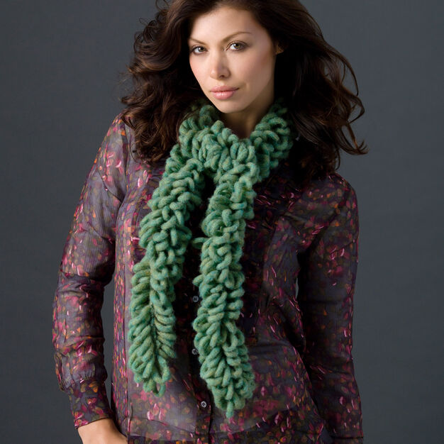 Red Heart One-Ball Crochet Loop Scarf in color
