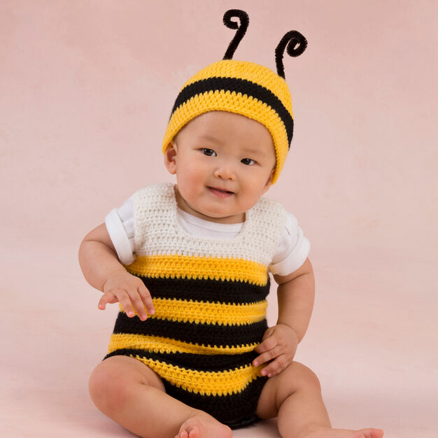 Red Heart Little Baby Bee Playsuit & Hat, 0/3 mos in color