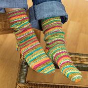 Red Heart Self-Striping Knit Socks, 5