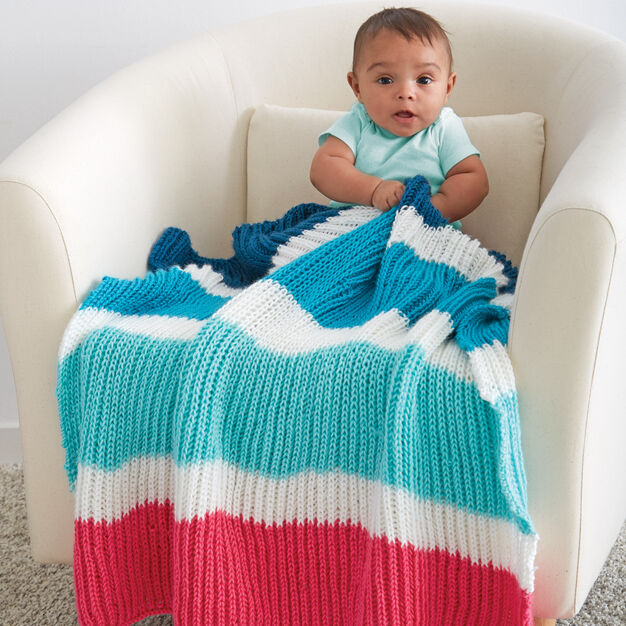 Caron Bold Stripes Baby Blanket