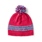 Red Heart Rainbow Knit Hat