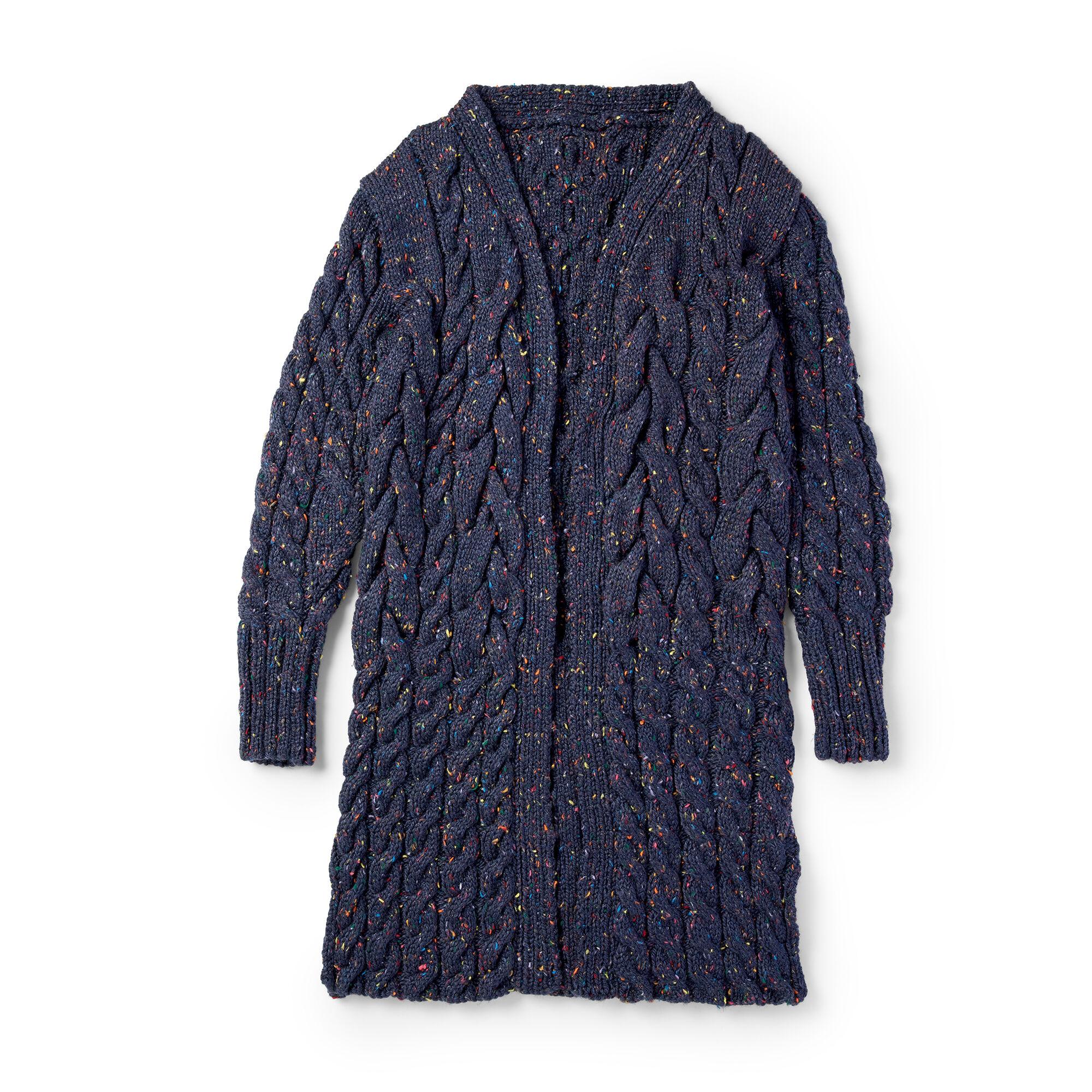 Patons Knit Cabled Coatigan L Pattern Yarnspirations