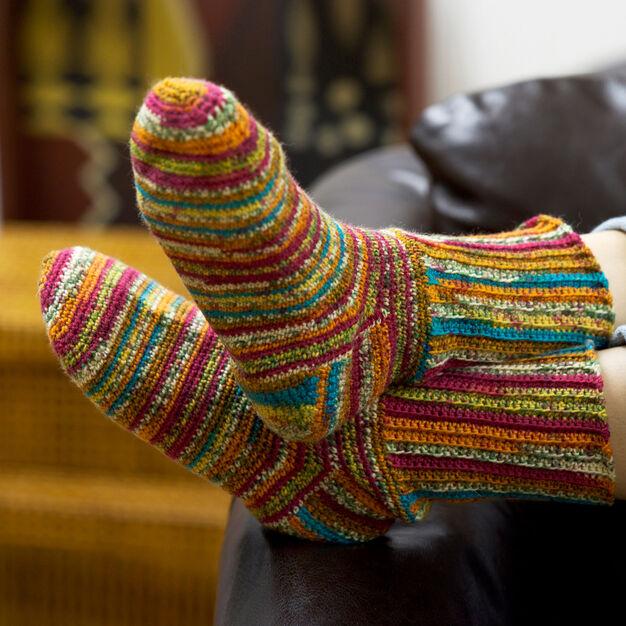 Red Heart Colorful Crochet Socks, S