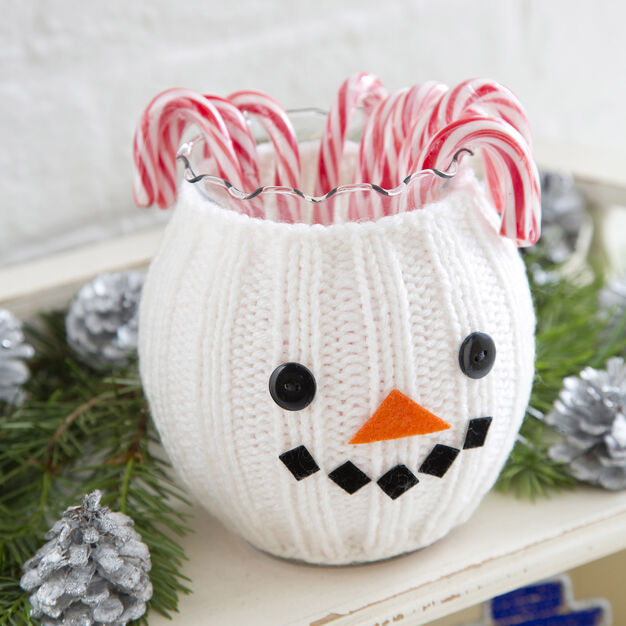 Red Heart Snowman Jar Cozy in color