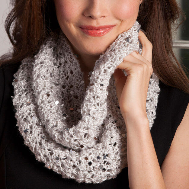 Red Heart Elegant Night Cowl in color