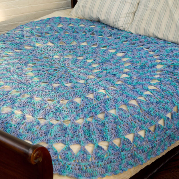 Red Heart Medallion Circular Throw in color