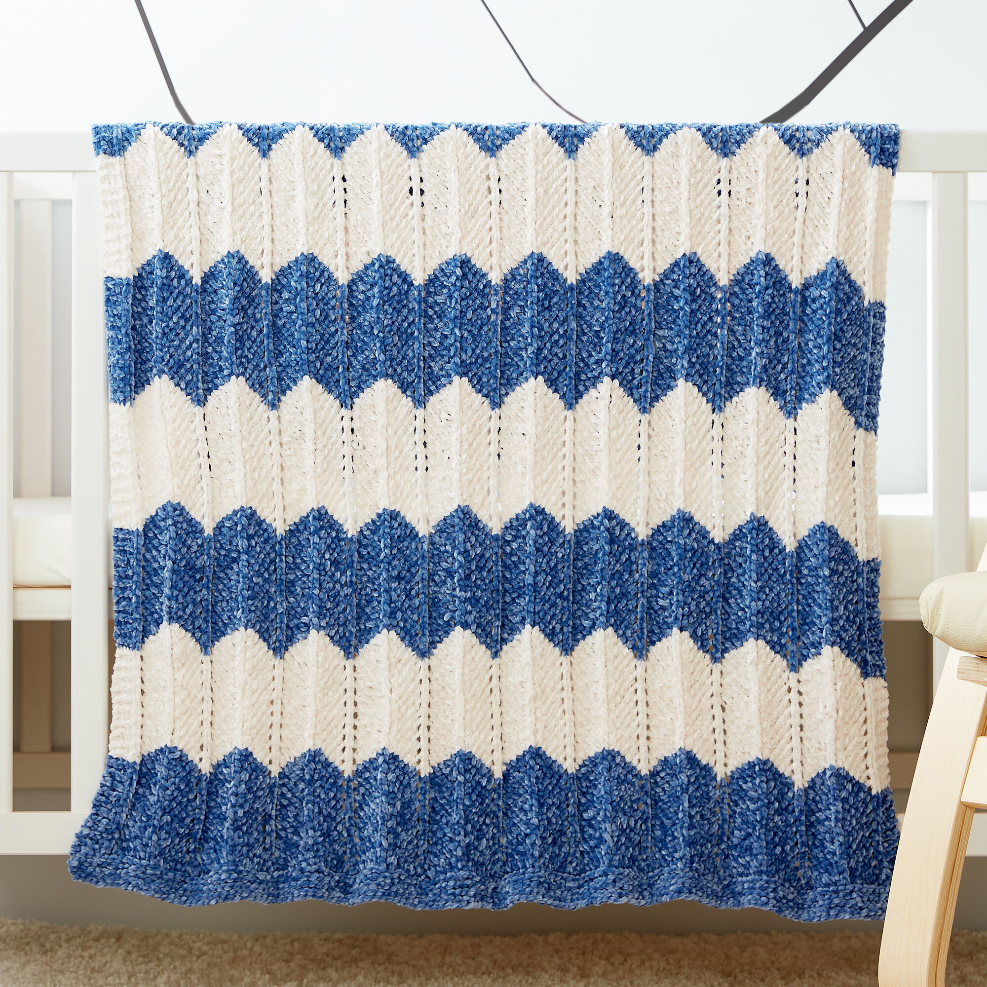 knitting pattern for super soft baby blanket knit with Bernat Velvet yarn in worsted weight