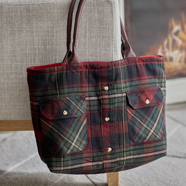 Dual Duty Shirt Tale Tote -Re-purpose a Flannel Shirt in color