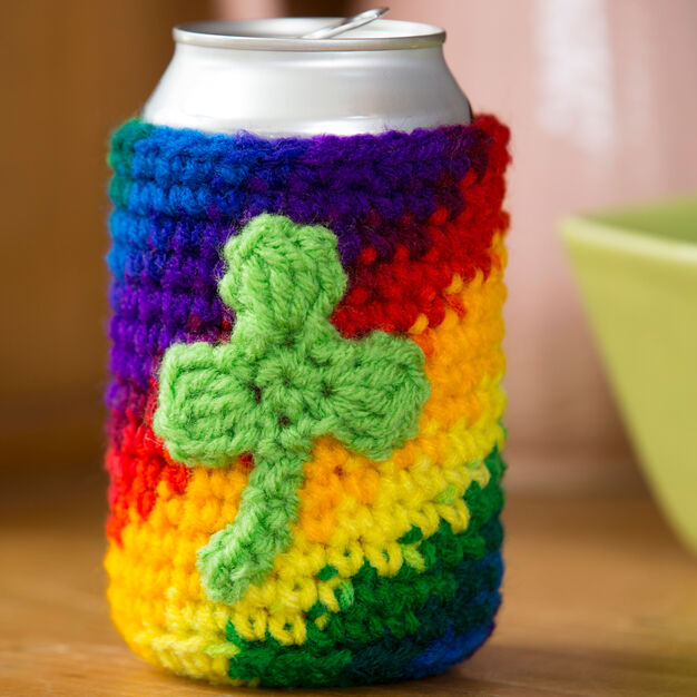 Red Heart Shamrock Can Cozy