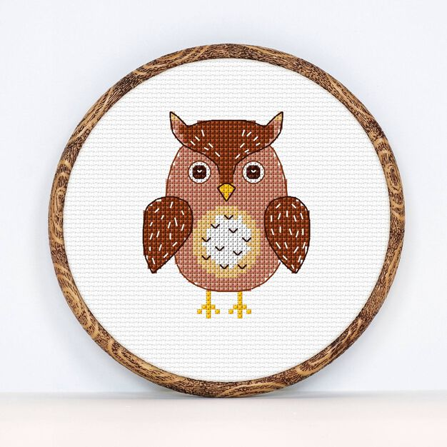 Anchor Owl Cross Stitch design in color