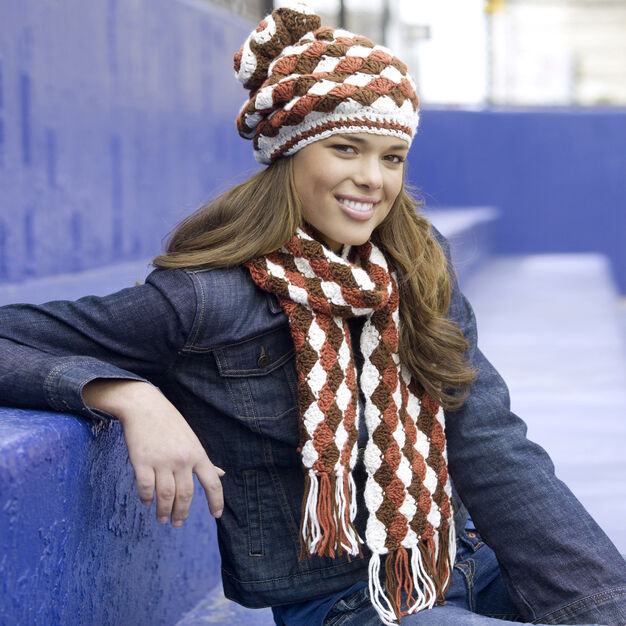 Red Heart Shell Stitch Hat and Scarf in color