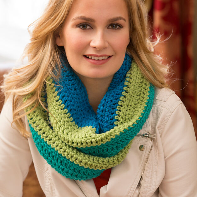 Red Heart Paradise Infinity Cowl in color