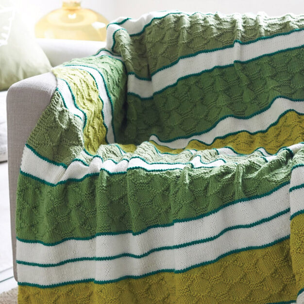 Bernat Block Quilt Striped Afghan