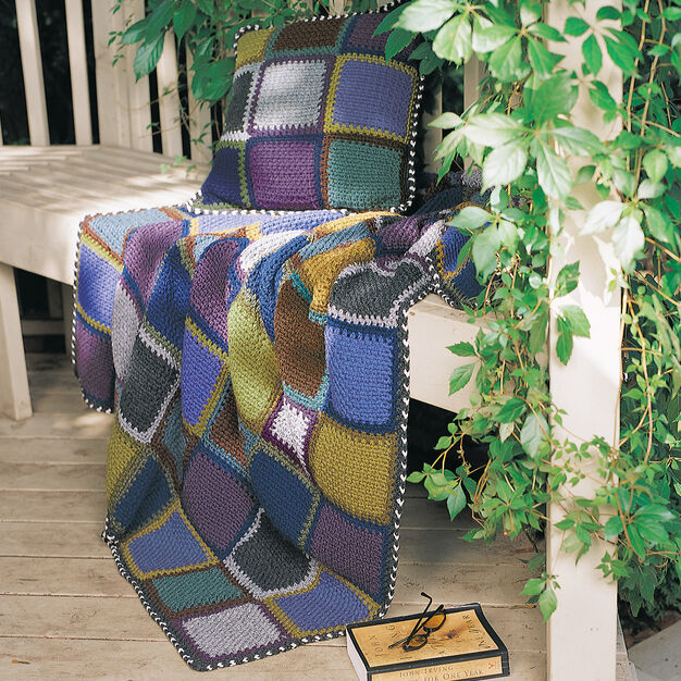 Patons Rustic Patchwork Afghan & Pillow Set in color