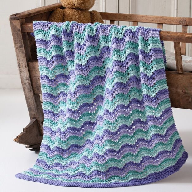 Caron Lullaby Baby Blanket in color