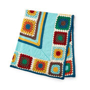 Caron Crochet Granny Stripes & Squares Blanket