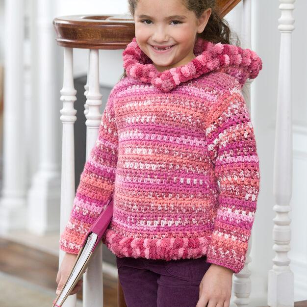 Red Heart Crochet Girlie Hoodie, 2 yrs in color
