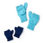 Red Heart Convertible Family Knit Mittens, 2/4 yrs