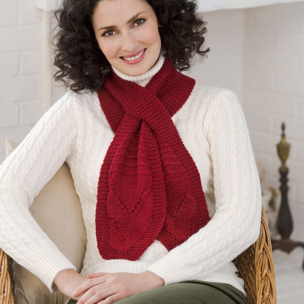 Red Heart Keyhole Scarf in color