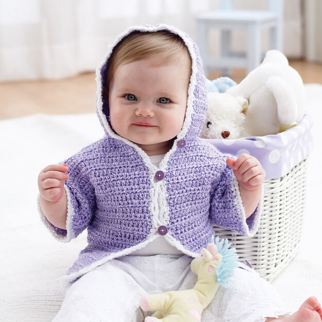 Bernat Crochet Hoodie Jacket, 6 months in color