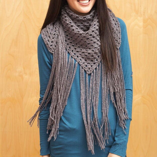 Bernat Big Fringe Triangle Scarf