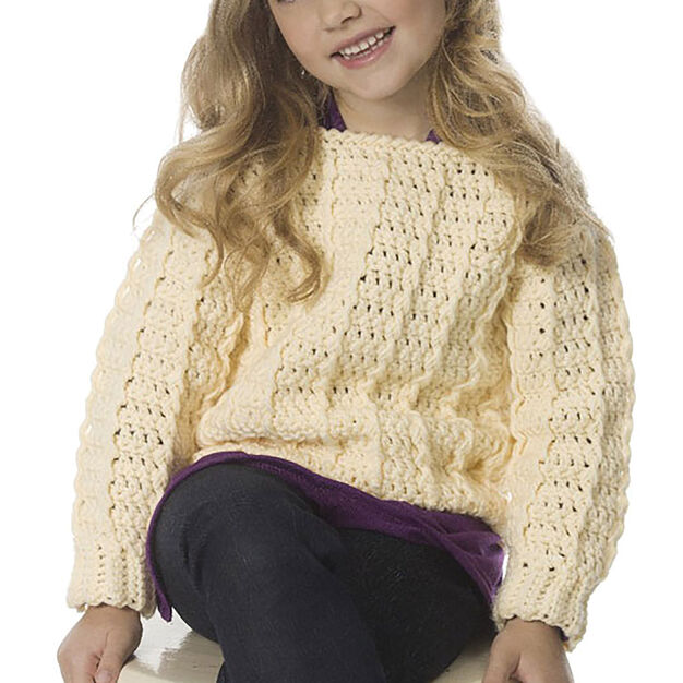 Caron Child's Retro Ribbed Pullover, 4 yrs in color