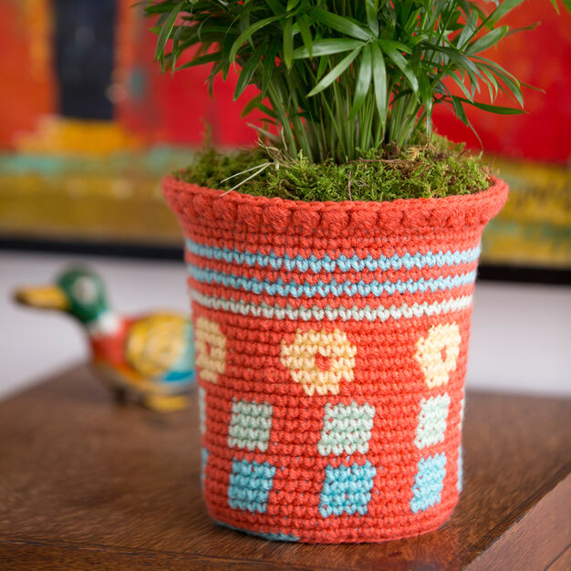 Red Heart Tapestry Flower Pot Cozy in color