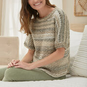 Red Heart Eyelet Banded Sweater, S