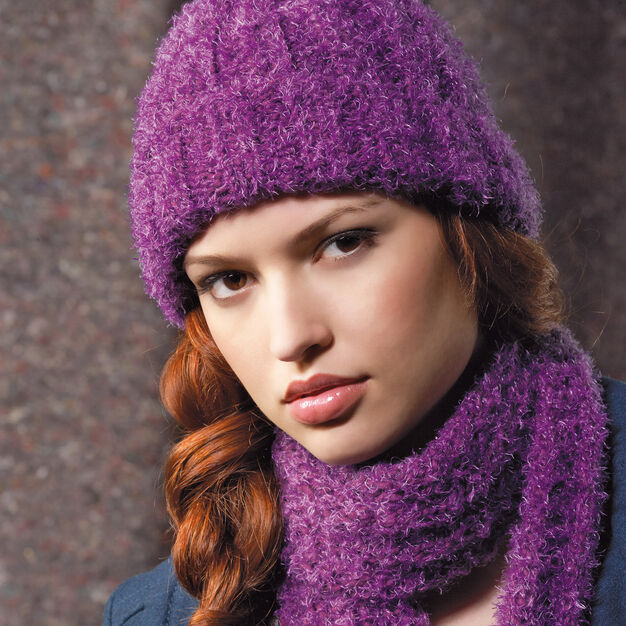 Red Heart Ribbed Hat and Scarf in color