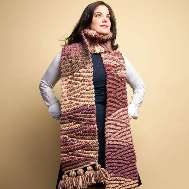 Caron Chunky Crochet Short-Row Scarf in color