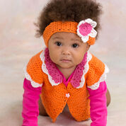 Red Heart Flower Petal Sweater & Headband, 6 mos