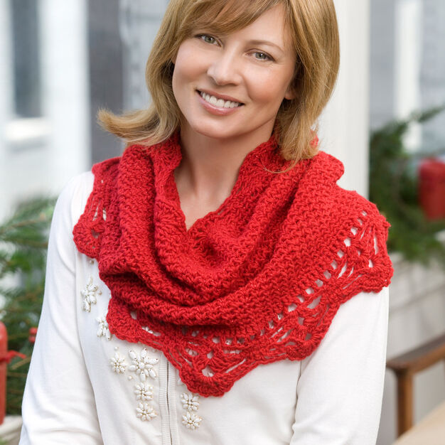 Red Heart Shimmer Cowl in color