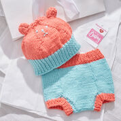 Red Heart Knit Bear Hat and Diaper Cover, 3 mos
