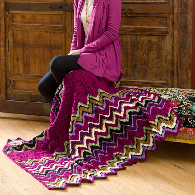 Red Heart Berry Zig-Zag Throw in color