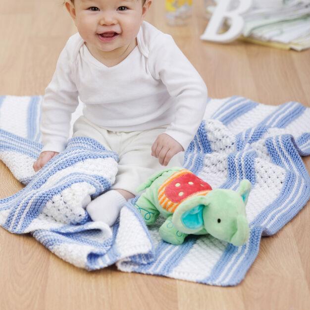 Red Heart Knit Garter Stripe Baby Blanket in color