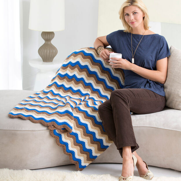Red Heart Crochet Ripple Throw in color