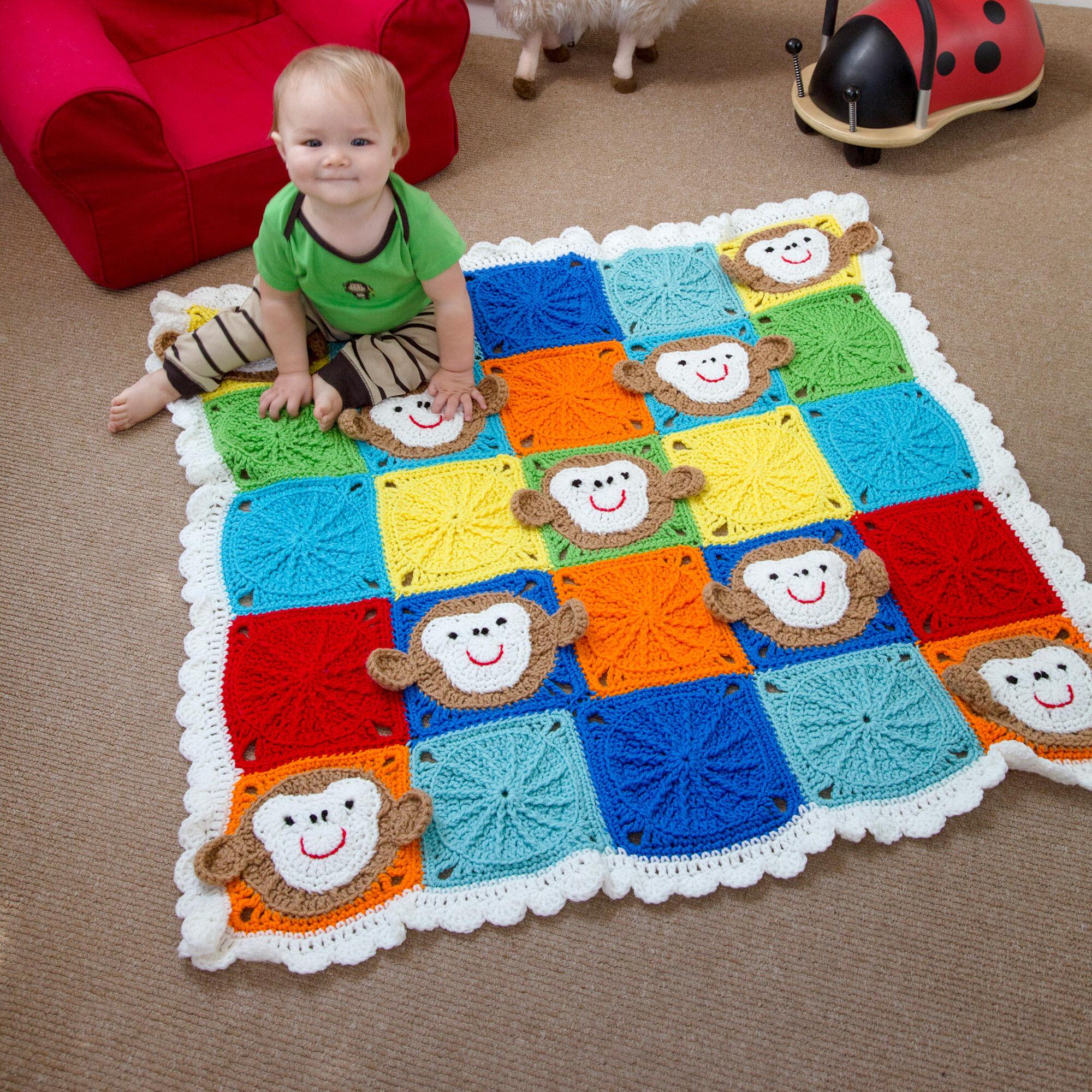 Red Heart Monkey Around Baby Blanket | Yarnspirations