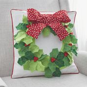 Dual Duty Holly Wreath Pillow