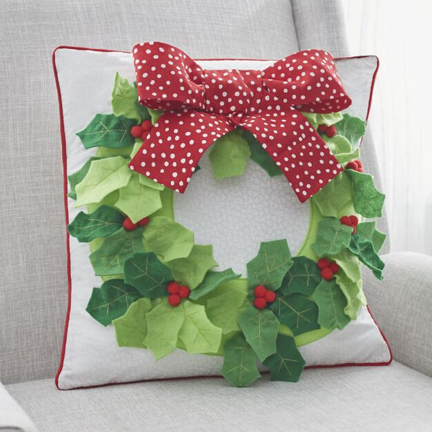Dual Duty Holly Wreath Pillow in color