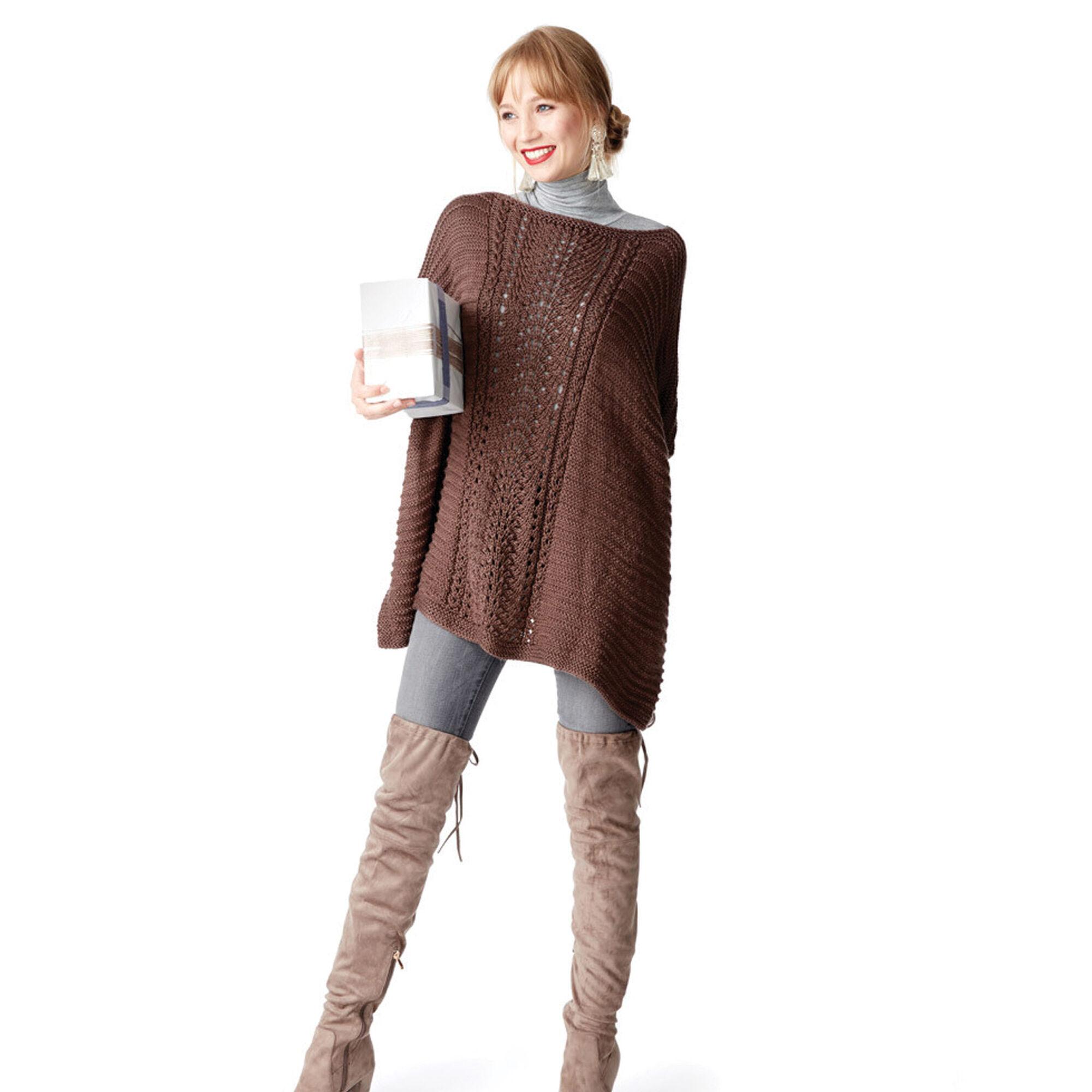 Caron Lace Panel Knit Poncho   Yarnspirations