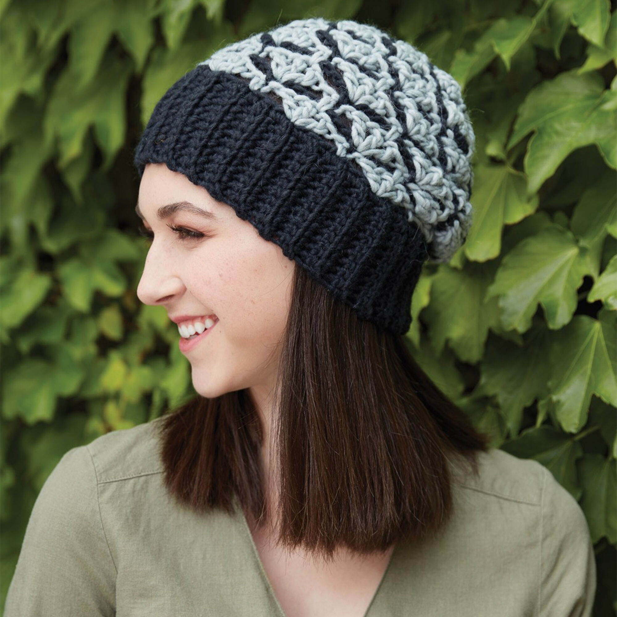 Patons Crochet Shadow Shells Hat Yarnspirations